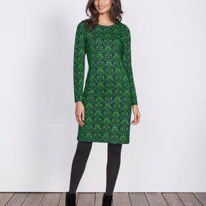 Boden Guinevere Jacquard dress navy green knit 6